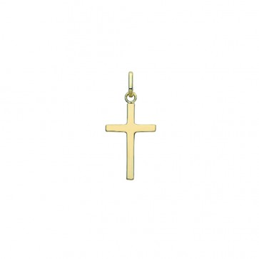 Children's 9ct Gold 20MM Plain Cross Pendant On A Prince of Wales Necklace