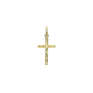 Children's 9ct Gold 20MM Engraved Cross Pendant On A Prince of Wales Necklace