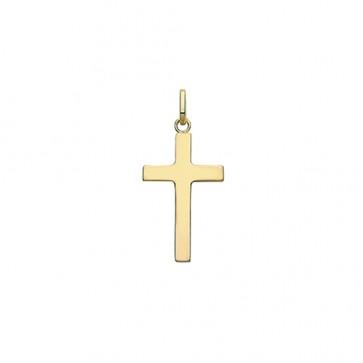 Men's 9ct Gold 24MM Plain Cross Pendant On A Curb Necklace