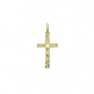 Children's 9ct Gold 24MM Engraved Cross Pendant On A Prince of Wales Necklace