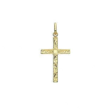 9ct Gold 27MM Engraved Cross Pendant On A Belcher Necklace