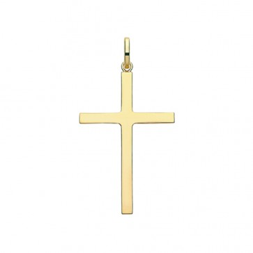 Children's 9ct Gold 38MM Plain Cross Pendant On A Prince of Wales Necklace