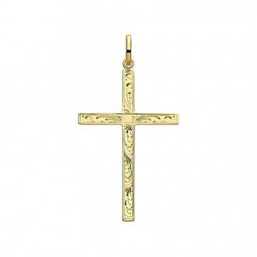 Men's 9ct Gold 38MM Engraved Cross Pendant On A Curb Necklace