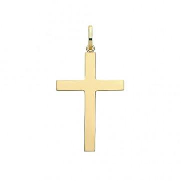 Men's 9ct Gold 37MM Plain Cross Pendant On A Curb Necklace