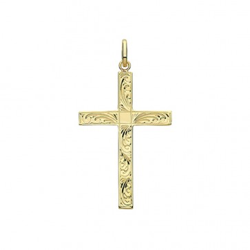 9ct Gold 37MM Engraved Cross Pendant On A Belcher Necklace