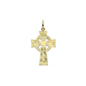 Men's 9ct Gold 26MM Celtic Engraved Cross Pendant On A Curb Necklace
