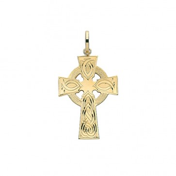 Men's 9ct Gold 31MM Celtic Engraved Cross Pendant On A Curb Necklace