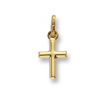 Children's 9ct Gold Plain Tubular Cross Pendant On A Prince of Wales Necklace