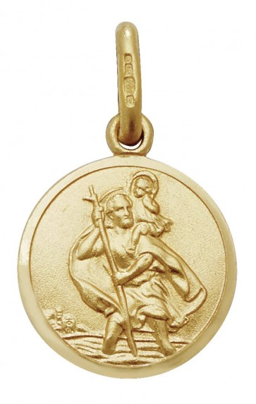 Men's 9ct Gold Round St Christopher Pendant On A Curb Necklace