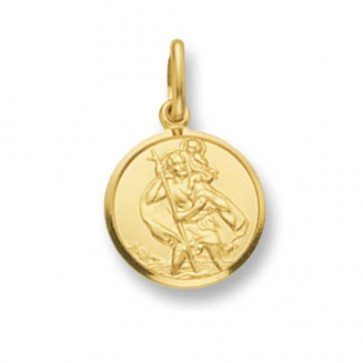Children's 9ct Gold Round St Christopher Pendant On A Prince of Wales Necklace
