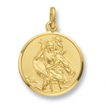 9ct Gold Round St Christopher Pendant On A Belcher Necklace