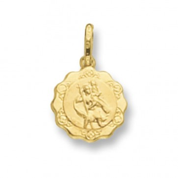 Men's 9ct Gold Hollow Fancy St Christopher Pendant On A Curb Necklace