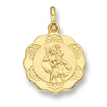 9ct Gold Hollow Fancy St Christopher Pendant On A Belcher Necklace