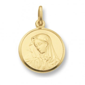 9ct Gold Round Madonna Pendant On A Belcher Necklace