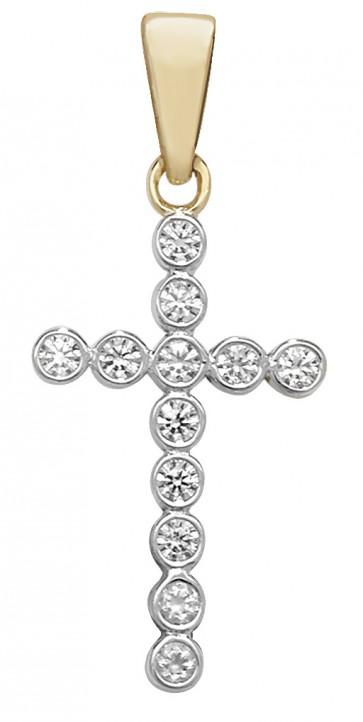 9ct Gold Cubic Zirconia Cross Pendant On A Belcher Necklace
