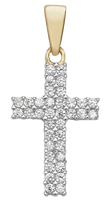 Men's 9ct Gold Cubic Zirconia Cross Pendant On A Curb Necklace