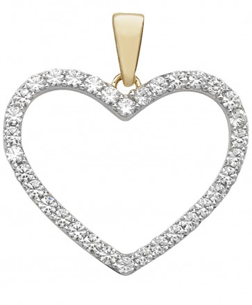 Children's 9ct Gold Cubic Zirconia Heart Pendant On A Prince of Wales Necklace