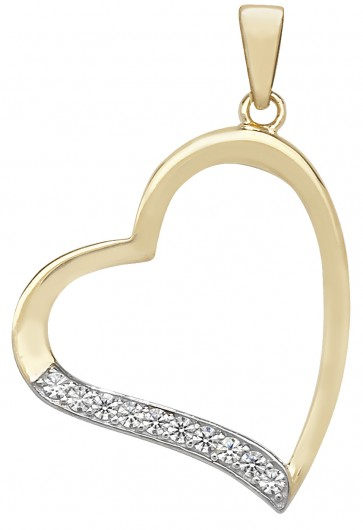 Men's 9ct Gold Cubic Zirconia Heart Pendant On A Curb Necklace