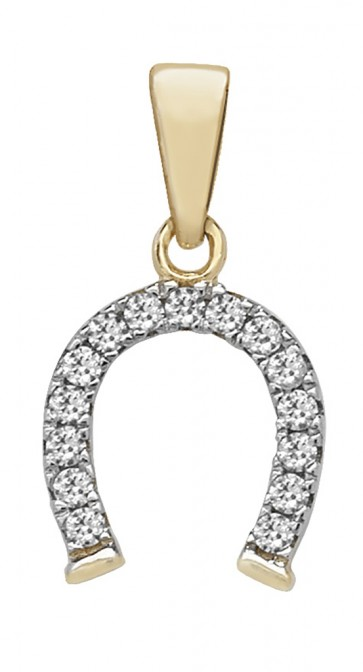 9ct Gold Cubic Zirconia Horseshoe Pendant On A Belcher Necklace