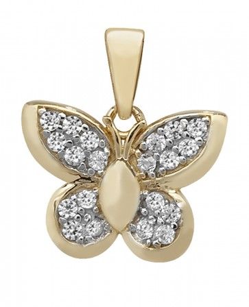 Men's 9ct Gold Cubic Zirconia Butterfly Pendant On A Curb Necklace