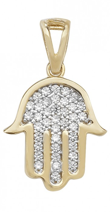 Children's 9ct Gold Cubic Zirconia Hamsa Pendant On A Prince of Wales Necklace