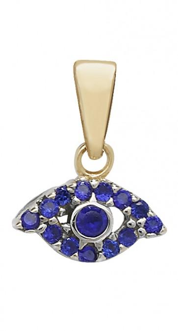 9ct Gold Blue Cubic Zirconia Evil Eye Pendant On A Belcher Necklace