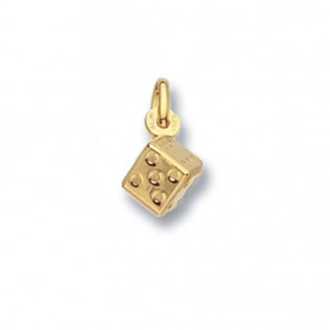 Children's 9ct Gold Dice Pendant On A Prince of Wales Necklace
