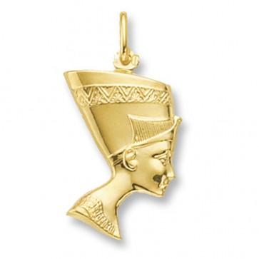 Men's 9ct Gold Nefertiti Pendant On A Curb Necklace