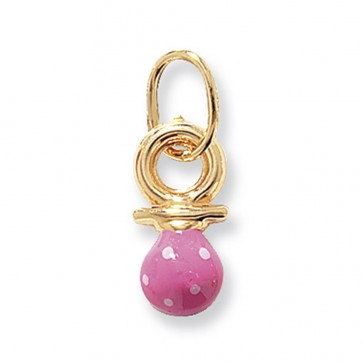 9ct Gold Pink Dummy Pendant On A Belcher Necklace