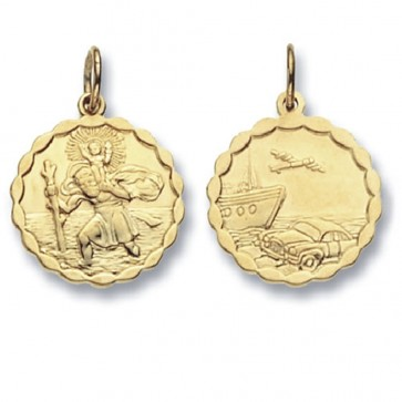 Men's 9ct Gold Round Double Sided St Christopher Pendant On A Curb Necklace