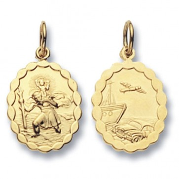 Men's 9ct Gold Oval Double Sided St Christopher Pendant On A Curb Necklace