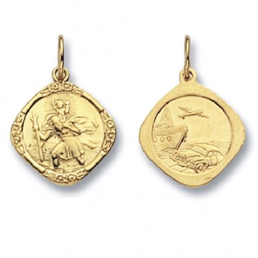 9ct Gold Double Sided Cushions St Christopher Pendant On A Belcher Necklace