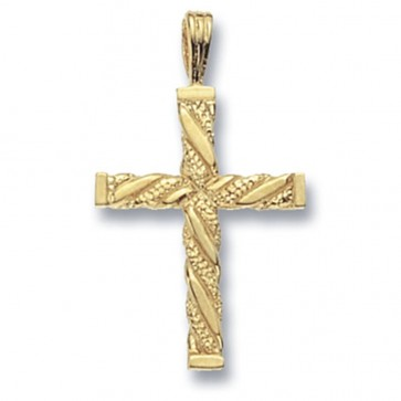 Children's 9ct Gold Fancy Cross Pendant On A Prince of Wales Necklace
