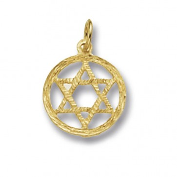 Men's 9ct Gold Star Of David Pendant On A Curb Necklace