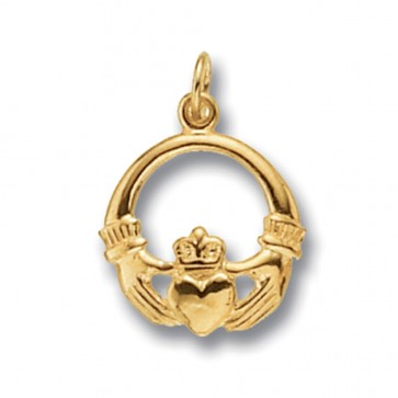 Children's Gold Claddagh Pendant On A Prince of Wales Necklace