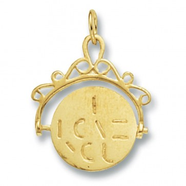 Children's 9ct Gold Spinning I Love You Pendant On A Prince of Wales Necklace