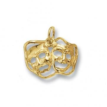 Men's 9ct Gold Theatre Masks Pendant On A Curb Necklace