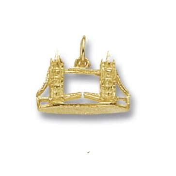 Men's 9ct Gold Tower Bridge Pendant On A Curb Necklace
