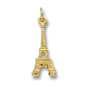 Men's 9ct Gold Eiffel Tower Pendant On A Curb Necklace