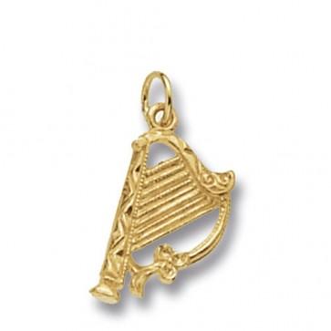 9ct Gold Harp Pendant On A Belcher Necklace