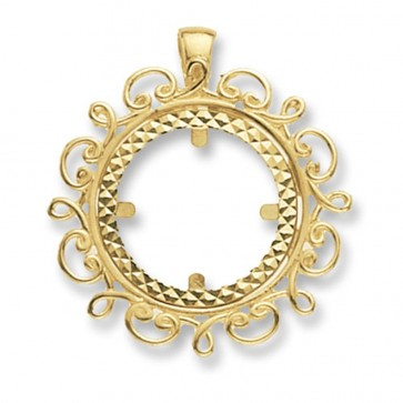 Men's 9ct Gold Fancy Round Full Coin Mount Pendant On A Curb Necklace