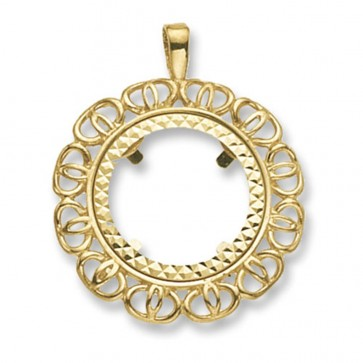 9ct Gold Round Half Coin Mount Pendant On A Belcher Necklace