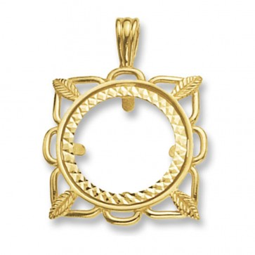 Children's 9ct Gold Fancy Square Full Coin Mount Pendant On A Prince of Wales Necklace