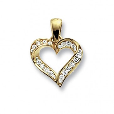 Children's 9ct Gold Cubic Zirconia Set Open Heart Pendant On A Prince of Wales Necklace