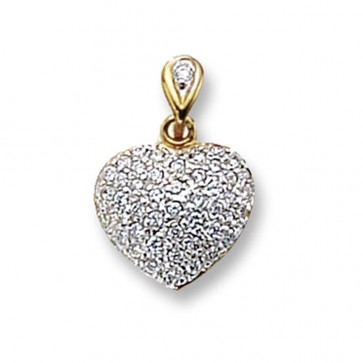 9ct Gold Cubic Zirconia Set Heart Pendant On A Belcher Necklace