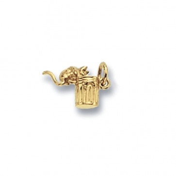 Men's 9ct Gold Cat In A Bin Pendant On A Curb Necklace