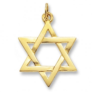 9ct Gold Plain Star Of David Pendant On A Belcher Necklace