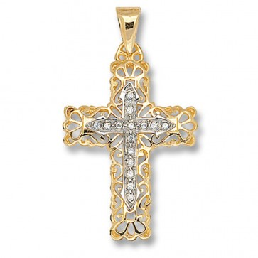 Men's 9ct Gold Cubic Zirconia Set Cross Pendant On A Curb Necklace