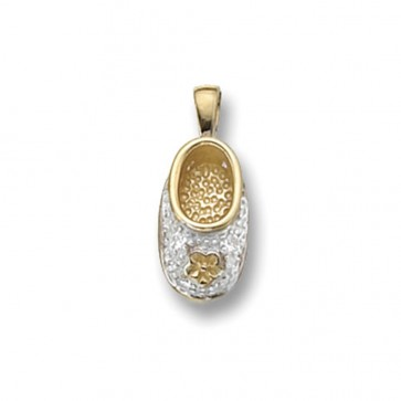 Men's 9ct Gold Cubic Zirconia Set Baby Boot Pendant On A Curb Necklace