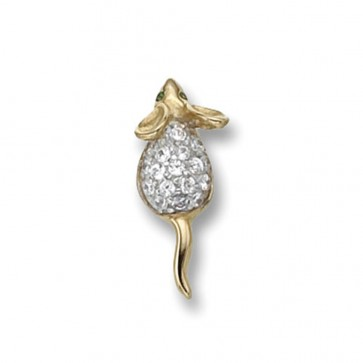 9ct Gold Cubic Zirconia Set Mouse Pendant On A Belcher Necklace